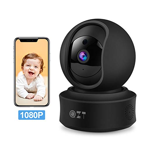 QZT 1080P Cámara IP, Cámara de Vigilancia WiFi FHD con Visión Nocturna 10m, Cámara de Mascota,Detección de Movimiento, Audio de 2 Vías,Vigilabebes Audio, Monitor para Bebe/Perros