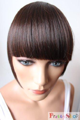 PRETTYSHOP Pony Clip In Extensions Stirnfransen Haarteil Haarverlängerung Dunkelbraun Mix HF12-2