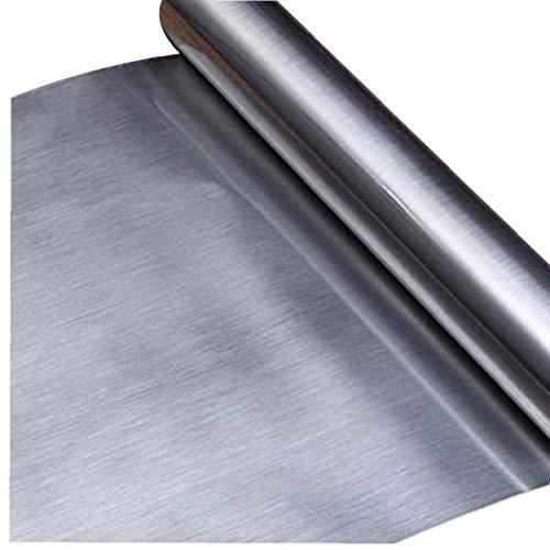 FeelMeet Rollo de Papel Pintado Auto Adhesivo Brillo Palo en Papel Adhesivo de Contacto de Plata Desmontable para una encimera de Muebles 60x300cm