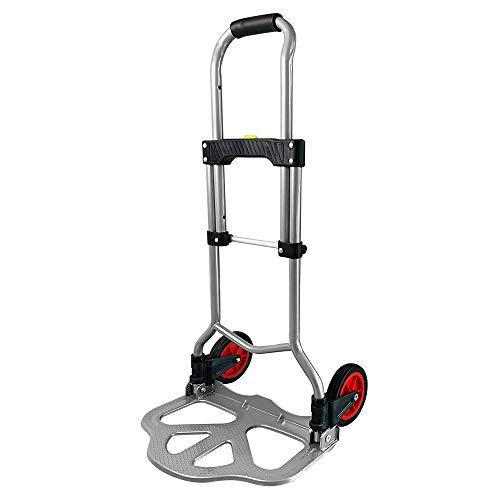 LARS360 Carrello pieghevole per il trasporto, con maniglia retrattile e 2 ruote, portata fino a 60 kg, per consegne, trasloci, trasporti, lavori di carico