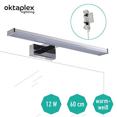 Spiegelleuchte LED Bad BALI W 60cm 12W 960lm | Badleuchte für die Wandmontage Spiegellampe Badezimmer 3000K warmweiss