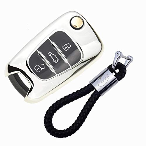 Autoschlüssel Hülle für Kia Hyundai – Cover TPU Silikon Hochglanz Schutzhülle Schlüsselhülle für Sportage Rio Ceed Picanto Optima iX35 i30 Tucson (Silber)