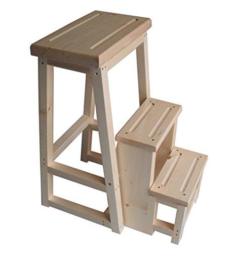 WUDENG Échelle de chaise multifonction Nordic Creative Foldable Step Stool Pliante Tabouret In Wood Utility Step Step Stool Flower Racks Shelf