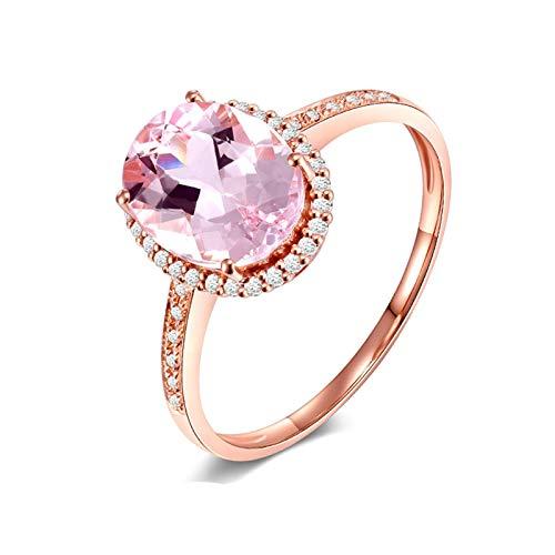 AMDXD Anillo Oro Rosa 18K, Anillos Mujer San Valentin 4 Garras Ovalada 9mmx6.8mm Morganita 1.9ct con Blanco Diamante, Oro Rosa, Tamaño 25 (Perímetro: 65mm)