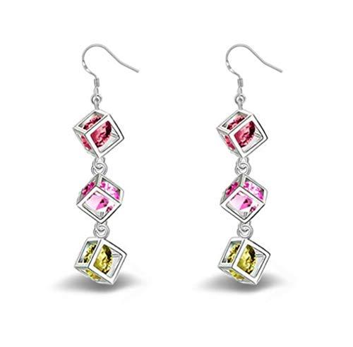 Gespout Boucles d'oreilles Femme fantaisie Boîte pendentif Alliages Élégant Accessoires de bijoux Fête de danse Argente Cadeau d'anniversaire