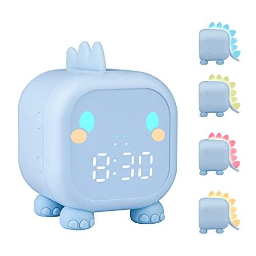 ZKIAH Despertador Infantil De Dinosaurio, Despertador Digital para NiñOs para NiñAs Y JóVenes, Reloj Digital con Luz, Luz Nocturna, Despertador Led (Azul)
