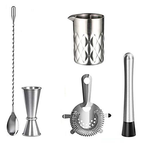 SODIAL Barkeeper Mojito Kit-Edelstahl Bar Werkzeuge mit Mischglas, Jigger, Bar L?Ffel, Muddler, Sieb Cocktail Shaker Set