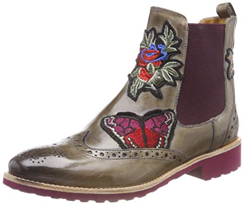 Melvin & Hamilton Damen Amelie 44 Chelsea Boots, Mehrfarbig (Crust/Marble + Embr. BFB/Ela. Burgundy/Rook D Burgundy), 38 EU