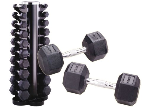 York Rubber Hex Dumbbell Club Pack - 12.5 to 25kg (6 Pairs)