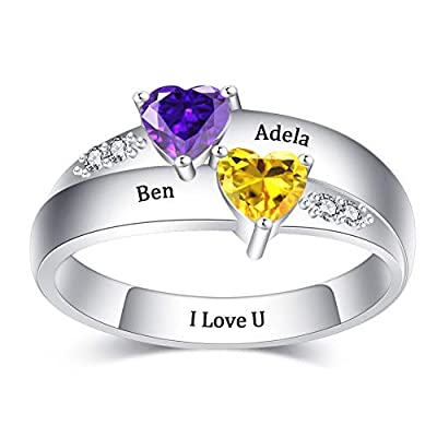 DesignForYou 925 Sterling Silver Personalized Promise Rings with 2-6 Birthstones, Custom Mothers Rings Family Name Rings for Women
