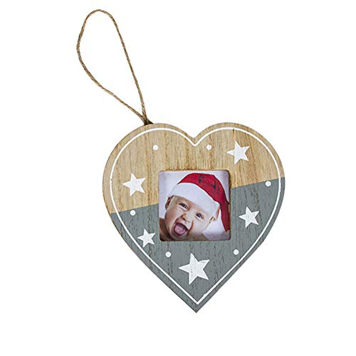 Da.Wa 1X Adornos Navidad Madera Marco de Album de Amor Colgante de Decoración de Arbol de Navidad Colgantes de...