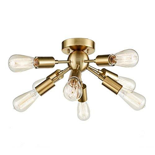 AXWT Luz de Techo de la lámpara 8 de luz Moderna iluminación Pendiente de la Vendimia Industrial Oro Fixture