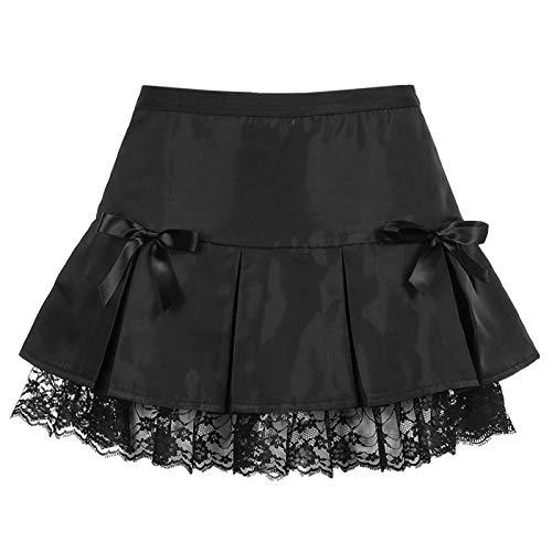 qiulanjia Faldas de Mujer en niñas Europeas y Americanas Falda Plisada con Costura de Encaje Negro Oscuro Vestido Negro Informal para niñas Falda de una línea Fiesta en la Calle en la Playa