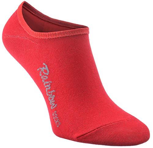 Rainbow Socks - Donna Uomo - Colorato Calzini Invisibili Calze Invisibili Corti - 1 Paia - Rosso - Taglia 42-44