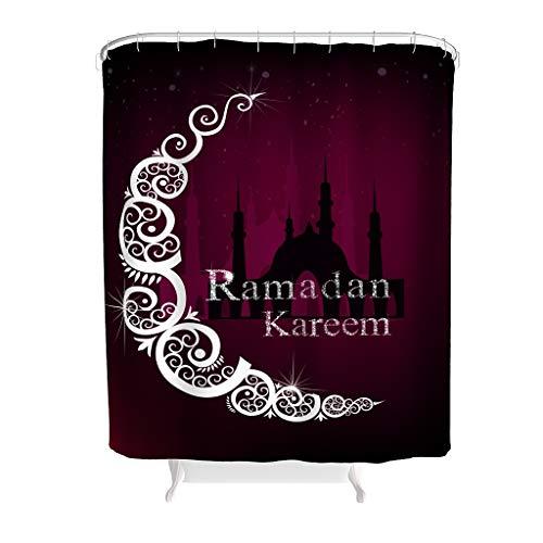 Dofeely Duschvorhang Lasser Bairam Muster Wasserabweisend Iftar Vorhang Badewannenvorhang mit Ringe Best Gift for Children White 200x200cm