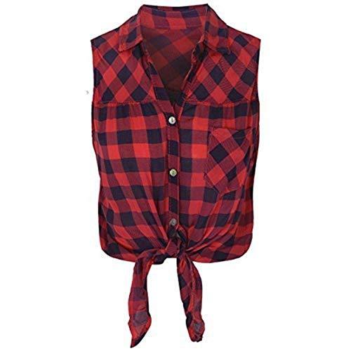 Damen Kariertes Hemd Lumberjack ärmellos Knot Tie bauchfreies Top bluse-größe - rot/marineblau, Large - EU 40
