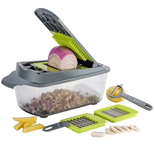 Smile Mom 3 in 1 Vegetable Food Onion Chopper Mandoline Slicer Large Containe 8 Cup, ABS Material, BPA Free for Home Kitchen