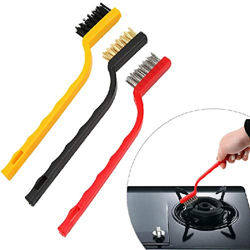 ALOUD CREATIONS Gas Stove Cleaning Wire Brush Kitchen Tools Metal Fiber Brush Strong decontamination, in-Depth Small Gaps Clean - Set of 3 Brush