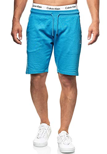 Indicode Herren Eckerd Sweatshorts mit Kordelzug | Kurze Hose mit Kordel Regular Fit Shorts Herrenshorts Sportshorts Short Sweat Pants Trainingshose Laufhose Laufshorts für Männer Clear Blue Mix L