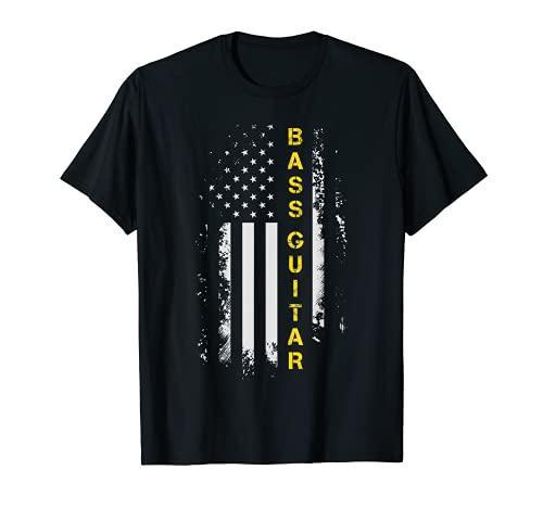 Bassgitarre mit US-Flagge, Bassgitarre T-Shirt