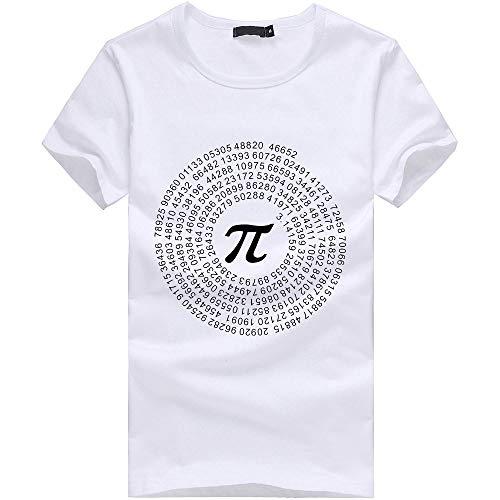 waotier Camiseta De Manga Corta para Hombre Simbolo De Matematicas Blanco Imprimir Top Ropa De Hombre Camiseta De Verano