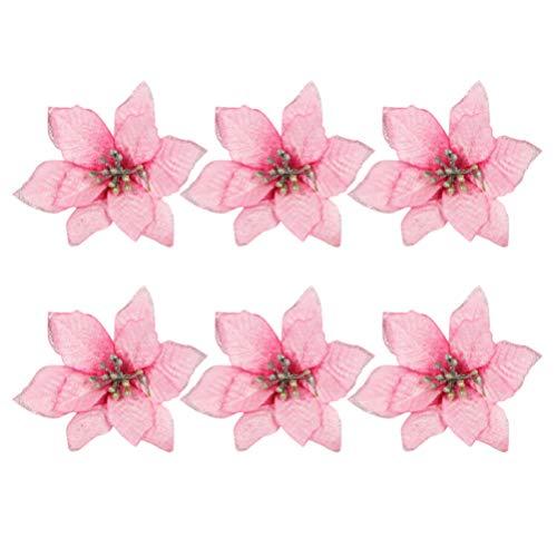 TOYANDONA 24pcs Fiori di Natale Artificiali Stella di Natale Rosa Ornamenti per Alberi di Natale (13 cm)