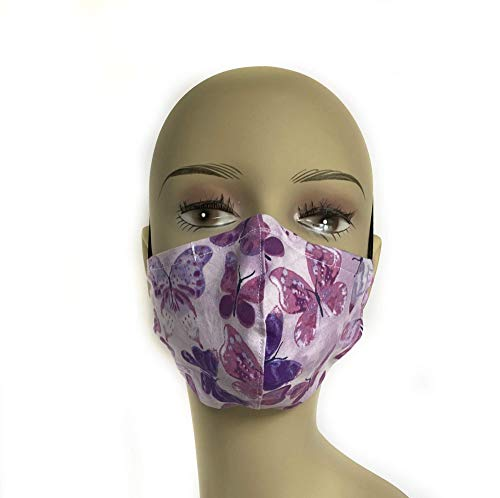 Purple Butterfly double layer contoured cloth face mask, washable and reusable, filter pocket, adjustable nose wire, made in USA, travel mask, dust mask