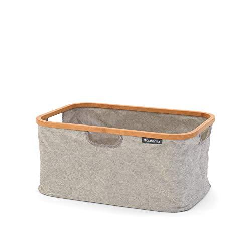 Brabantia 118180 Wäschekorb mit Bambus-Oberteil, Stoff, grau, 40L
