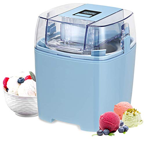 Costway Ice Cream Maker 1.6 Quart Automatic Macarons Color Ice Cream Machine, custard Frozen Yogurt Sorbet Gelato Machine with Auto Shut Off Timer, LCD Display and Mixing Paddle for Soft Serve Dessert (Blue)