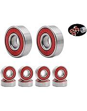 Rodamientos de Skate,608 RS Cojinetes de Patines 8 Pack Doble Rodamientos Metal Cojinetes de Skateboards Longboard para Fidget Spinner Proyecto de impresión en 3D Patinetas 608 ZZ ABEC-9 8mm Rojo