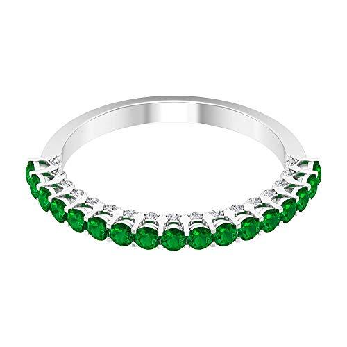 Anillo de compromiso de oro esmeralda vintage de 3/4 ct, único anillo de boda con piedras preciosas, 0,11 ct de diamantes, anillo de novia, 14K Oro blanco, Size:EU 63