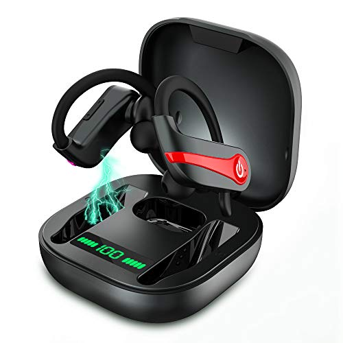 Bluetooth Kopfhörer Sport, In Ear Bluetooth 5.1 Kopfhörer Kabellos, IPX8 Wasserdicht CVC8.0 Noise Cancelling Stereo Wireless Earbuds Ohrhörer Bluetooth mit HD Mikrofon, 10H Lange Single Spielzeit