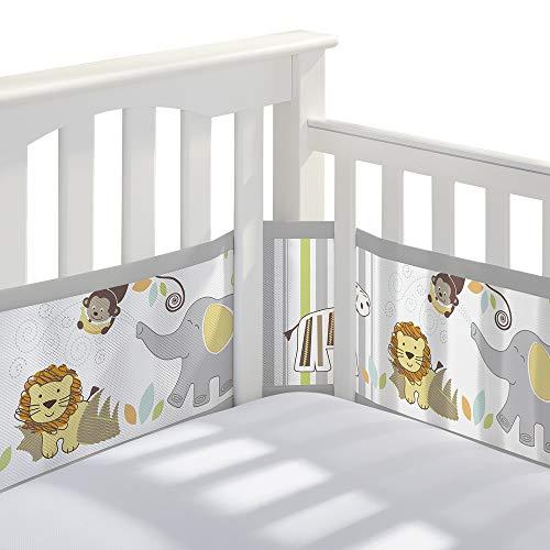 BreathableBaby Classic Breathable Mesh Crib Liner  Safari Fun Too