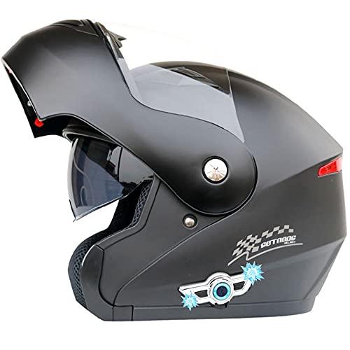Casco de Motocicleta Integrado Bluetooth,Certificación ECE Cascos modulares de Moto de Visera Doble con Visera Completa para Hombres y Mujeres Adultos Casco de Motocicleta G,XXL=63~64CM