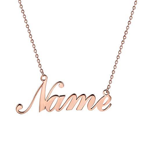 JewelryWe Schmuck Namenskette Damen Edelstahl Personalisierte Kette Halskette mit Name, Geschenk für Frauen, Freundin, Mutter, Schwester (Rosegold)