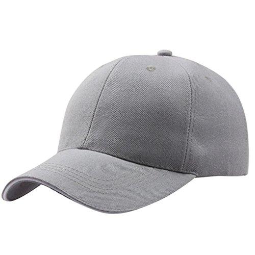 Baseball Kappe Unisex, Sunday Frauen Baseball Cap Snapback Hut Hip-Hop Einstellbar Outdoor Sports Pure Farbe Hüte (Grau)