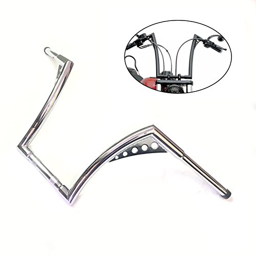 HTTMT HB02- Chrome Ape Hangers 1-1/4 Inches 14 Inches Rise Handle Bar Compatible with Harley Softail Chopper Sportster