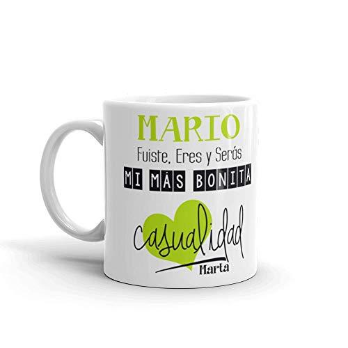 Kembilove Taza de Café Pareja – Taza de Desayuno Eres mi mas Bonita Casualidad Verde con Nombre Personalizado – Taza de Café y Té para Enamorados – Tazas para Parejas de 350 ml San Valentín