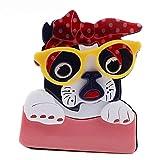 wangk FishSheep Lindo acrílico Perro broches Pines para Las Mujeres niños Dibujos Animados Perro con Gafas Animal Broche joyería Solapa Pines Icono Regalos