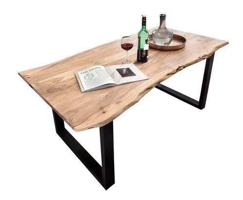 SAM Stilvoller Esszimmertisch Quentin 180x90 cm aus Akazie-Holz, Tisch mit Schwarz lackierten Beinen, Baum-Tisch mit naturbelassener Optik