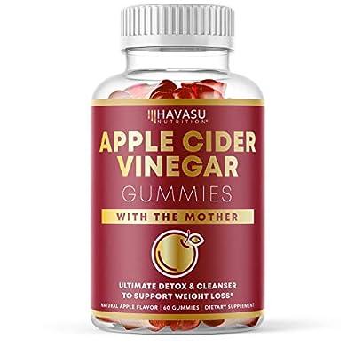 Havasu Nutrition Apple Cider Vinegar Gummies with Mother Enzyme for Belly Control & Detox Cleanse; 60 Organic ACV Vegetarian Gummies (60 Ct)