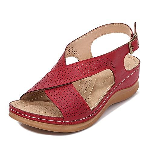 KovBexJa Sandalias De Mujer Verano Retro Bohemio Pendiente De 5 cm con Hebilla De Correa Cruzada Zapatos De Playa Rojo
