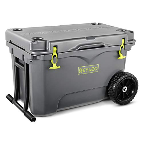 REYLEO 50 Quart Portable Wheeled Cooler, Rotomolded and Heavy-Duty Ice Chest with Built-in Cup Holders, Fish Ruler/Tie-Down Points, Grey
