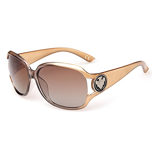 VeBrellen Damen Mode Polarisiert Oversize Sonnenbrille 100% UV-Schutz VS005 (Champagne)