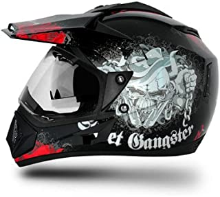 Vega Off Road Gangster GORDVBR1 Helmet (Black and Red, M)