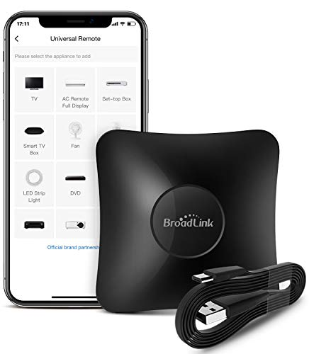 BroadLink RM4 pro Smart IR/RF Remote Control Hub with Sensor Cable-WiFi IR/RF Blaster for Smart Home Automation, TV, Curtain, Shades Remote, Works with Alexa, Google Assistant, IFTTT (RM4 pro S)