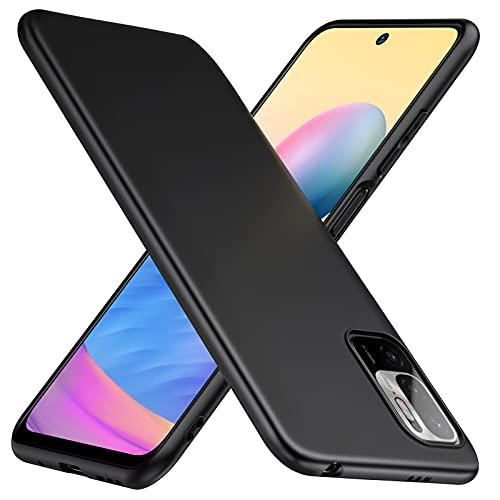 TesRank Xiaomi Redmi Note 10 5G und Poco M3 Pro 5G Hülle, Matte Oberfläche Soft Hüllen [Ultra Dünn] [Kratzfest] TPU Schutzhülle Hülle Weiche Handyhülle für Redmi Note 10 5G und Poco M3 Pro 5G -Schwarz