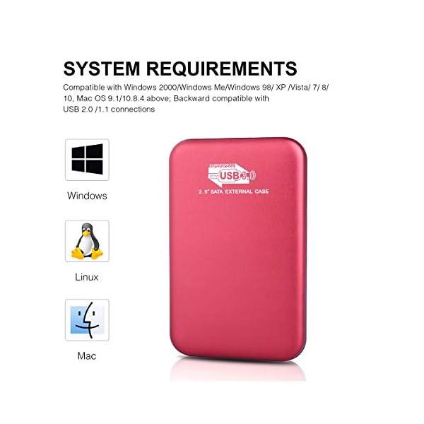 Disco Duro Externo 2 TB,Type C USB3.1 Disco Duro Externo para PC MacBook Desktop Xbox One Mac Laptop 2TB,Rojo Chromebook.