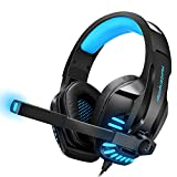 ZZKK Gaming-Headset mit Mic für PS4, PC, Xbox One, Surround Sound Noise Abrufen von Überschuss-Kopfhörern mit Soft Memory Ear Pads, LED-Licht, Volume Control kompatibel für Laptop-Tablet-Spiele