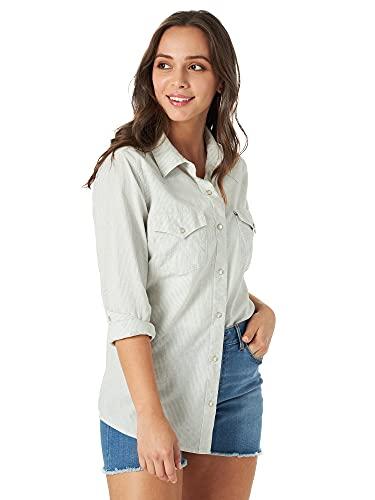 Wrangler Women's Western Snap Shirt, Light Blue, XX-Large